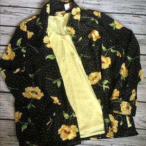 Alfred Dunner Yellow Black Blouse Size 14 Women's
